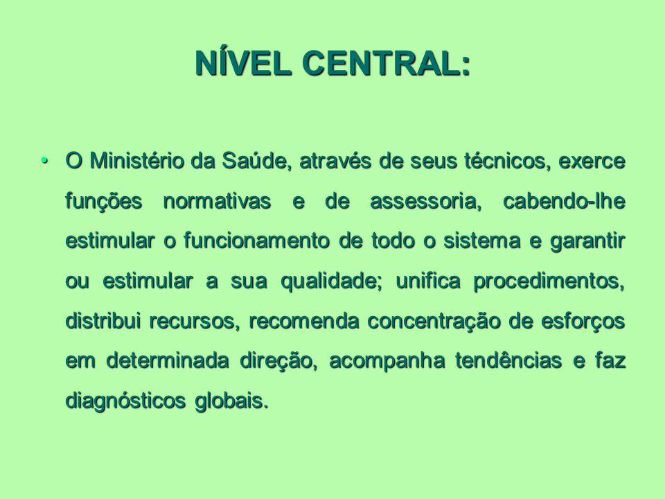 NÍVEL CENTRAL: O Ministério da Saúde, através de seus técnicos, exerce funções normativas e de assessoria, cabendo-lhe estimular o funcionamento de to