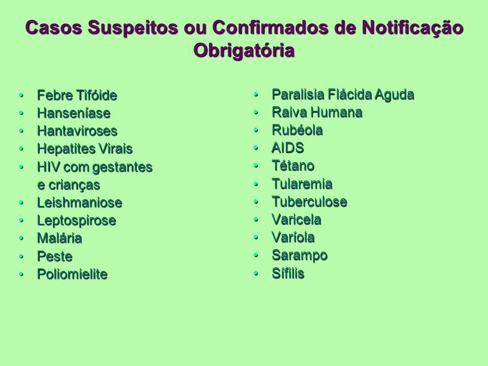 Casos Suspeitos ou Confirmados de Notificação Obrigatória Febre TifóideFebre Tifóide HanseníaseHanseníase HantavirosesHantaviroses Hepatites ViraisHep