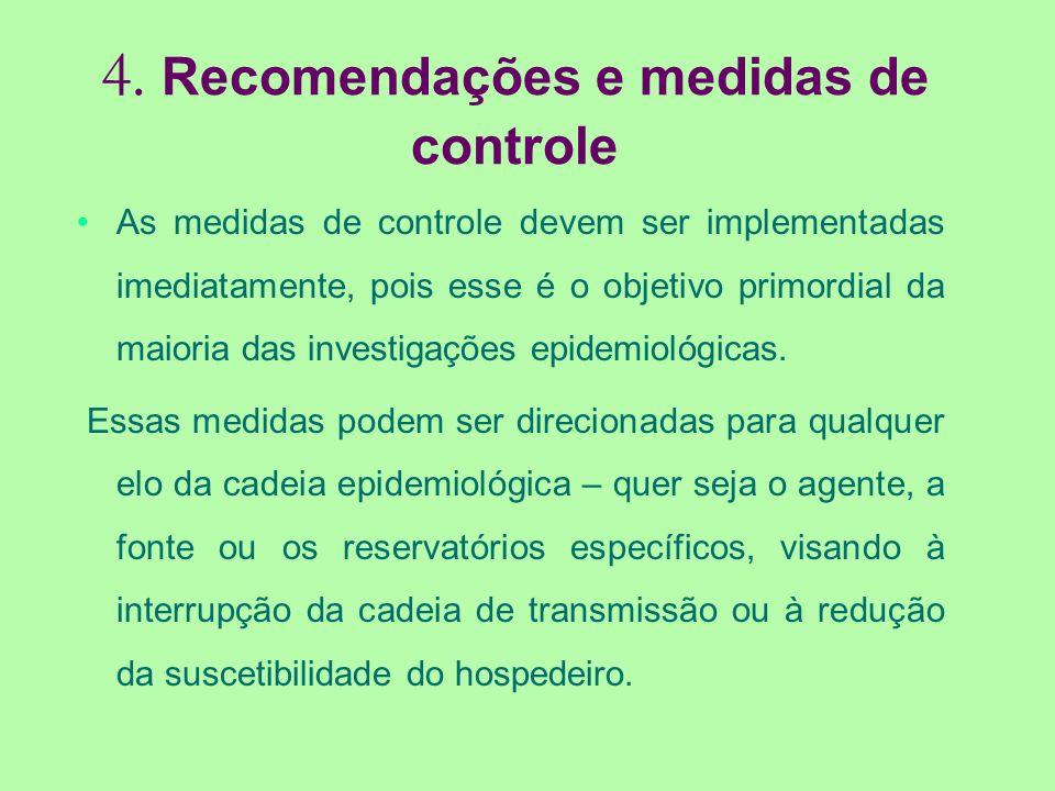 4. Recomendações e medidas de controle As medidas de controle devem ser implementadas imediatamente, pois esse é o objetivo primordial da maioria das