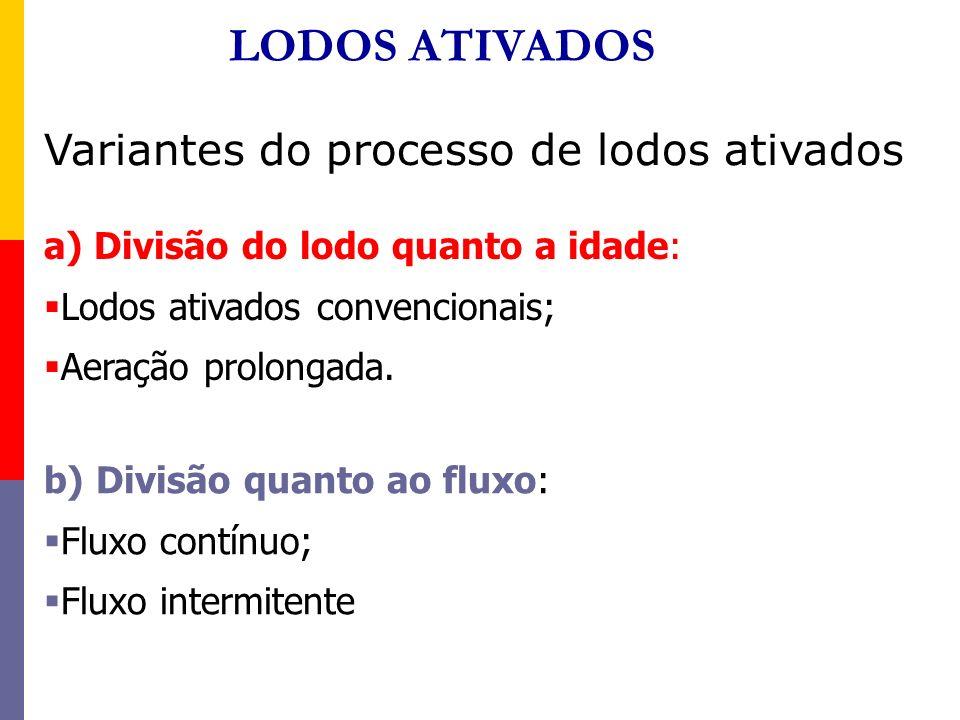 Variantes do processo de lodos ativados a) Divisão do lodo quanto a idade: Lodos ativados convencionais; Aeração prolongada. b) Divisão quanto ao flux