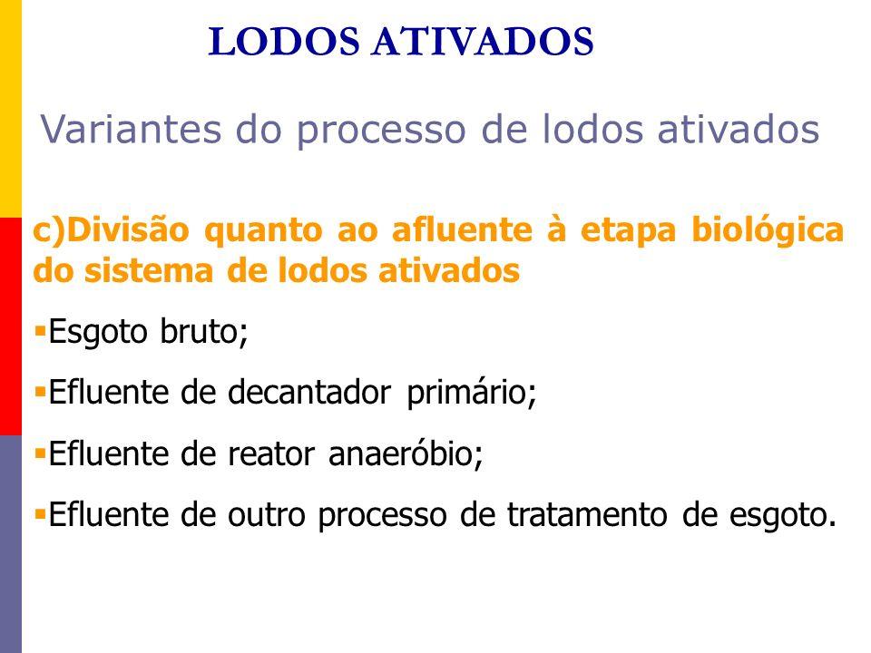 LODOS ATIVADOS Variantes do processo de lodos ativados c)Divisão quanto ao afluente à etapa biológica do sistema de lodos ativados Esgoto bruto; Eflue