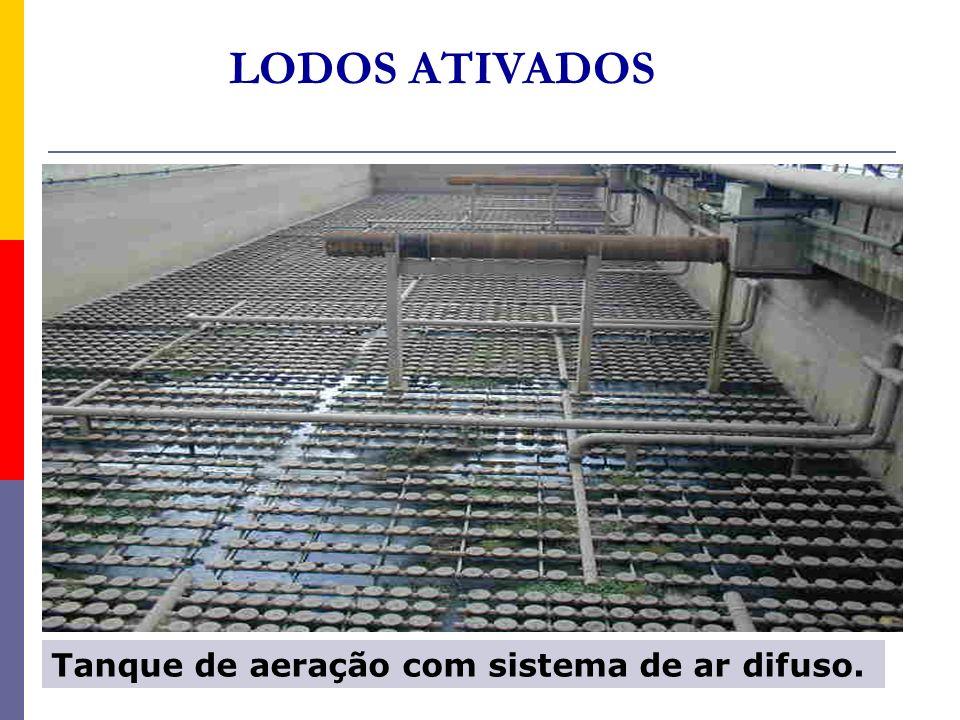 Tanque de aeração com sistema de ar difuso. LODOS ATIVADOS