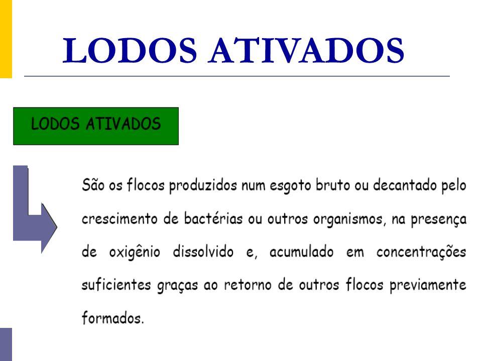 LODOS ATIVADOS Variantes do processo de lodos ativados c)Divisão quanto ao afluente à etapa biológica do sistema de lodos ativados Esgoto bruto; Efluente de decantador primário; Efluente de reator anaeróbio; Efluente de outro processo de tratamento de esgoto.