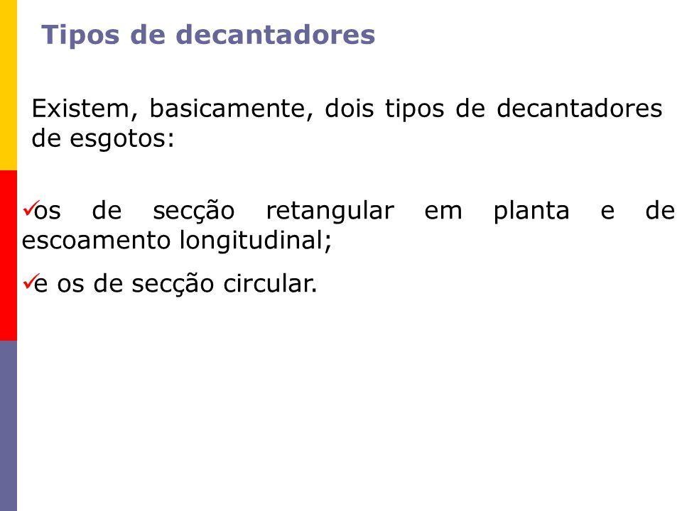 Tipos de decantadores Existem, basicamente, dois tipos de decantadores de esgotos: os de secção retangular em planta e de escoamento longitudinal; e o