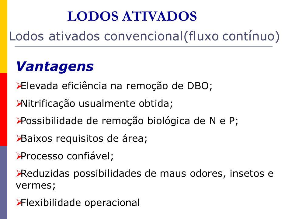 LODOS ATIVADOS Lodos ativados convencional(fluxo contínuo) Vantagens Elevada eficiência na remoção de DBO; Nitrificação usualmente obtida; Possibilida
