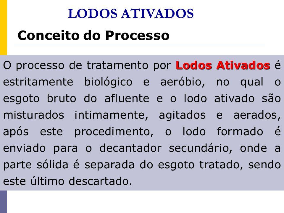 Conceito do Processo Lodos Ativados O processo de tratamento por Lodos Ativados é estritamente biológico e aeróbio, no qual o esgoto bruto do afluente