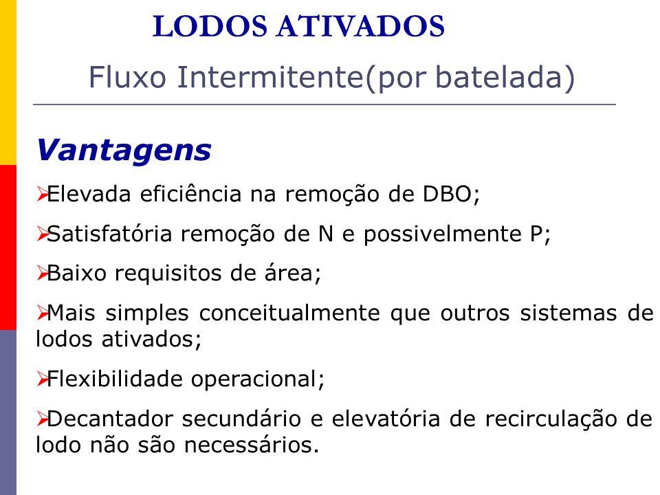 Vantagens Elevada eficiência na remoção de DBO; Satisfatória remoção de N e possivelmente P; Baixo requisitos de área; Mais simples conceitualmente qu