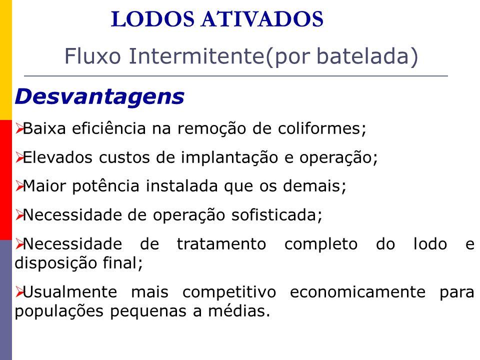 Fluxo Intermitente(por batelada) Desvantagens Baixa eficiência na remoção de coliformes; Elevados custos de implantação e operação; Maior potência ins