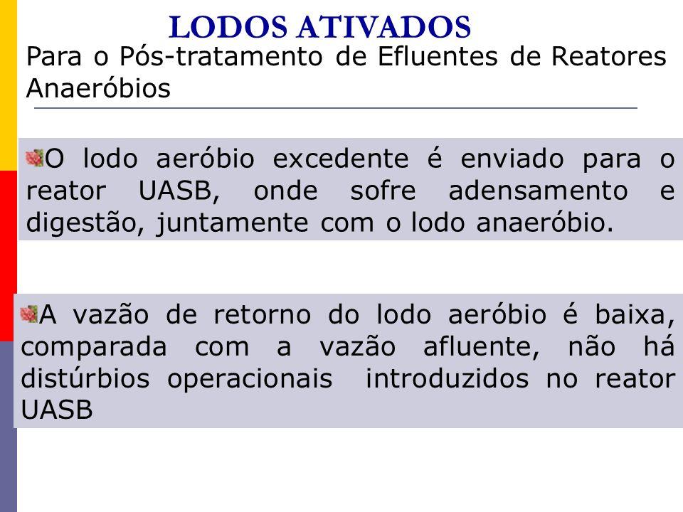 LODOS ATIVADOS Para o Pós-tratamento de Efluentes de Reatores Anaeróbios O lodo aeróbio excedente é enviado para o reator UASB, onde sofre adensamento