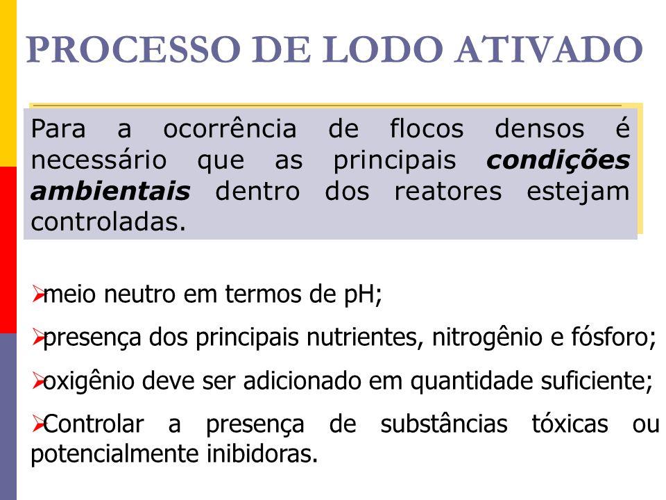 PROCESSO DE LODO ATIVADO Para a ocorrência de flocos densos é necessário que as principais condições ambientais dentro dos reatores estejam controlada