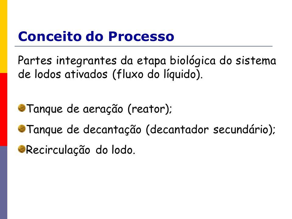 Conceito do Processo Partes integrantes da etapa biológica do sistema de lodos ativados (fluxo do líquido). Tanque de aeração (reator); Tanque de deca