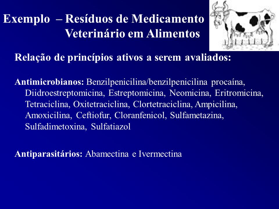 Exemplo – Resíduos de Medicamento Veterinário em Alimentos Relação de princípios ativos a serem avaliados: Antimicrobianos: Benzilpenicilina/benzilpen