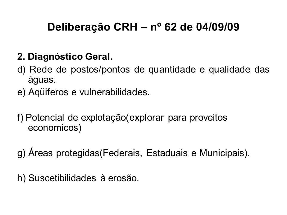 Deliberação CRH – nº 62 de 04/09/09 2. Diagnóstico Geral. d) Rede de postos/pontos de quantidade e qualidade das águas. e) Aqüiferos e vulnerabilidade