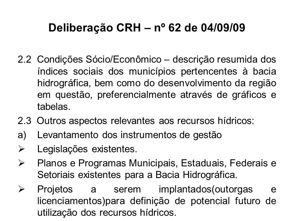 Deliberação CRH – nº 62 de 04/09/09 2.2 Condições Sócio/Econômico – descrição resumida dos índices sociais dos municípios pertencentes à bacia hidrogr