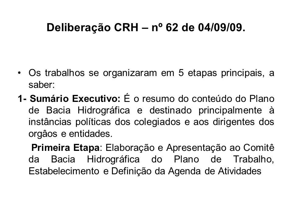 Deliberação CRH – nº 62 de 04/09/09. Os trabalhos se organizaram em 5 etapas principais, a saber: 1- Sumário Executivo: É o resumo do conteúdo do Plan
