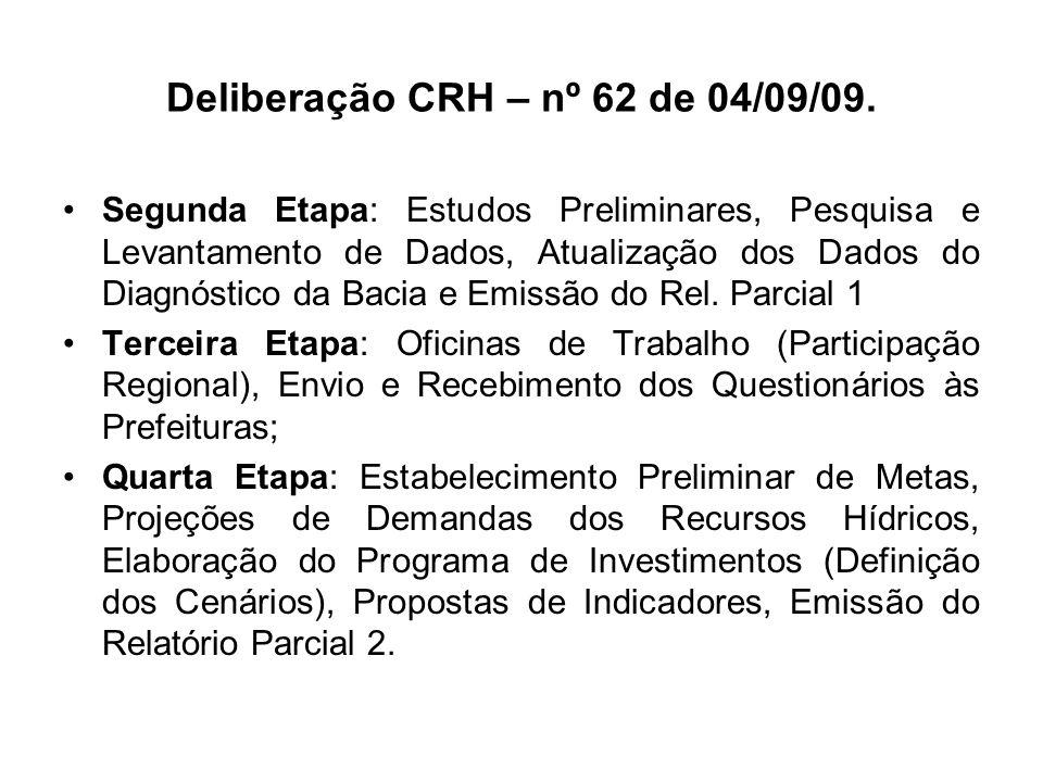 Deliberação CRH – nº 62 de 04/09/09. Segunda Etapa: Estudos Preliminares, Pesquisa e Levantamento de Dados, Atualização dos Dados do Diagnóstico da Ba