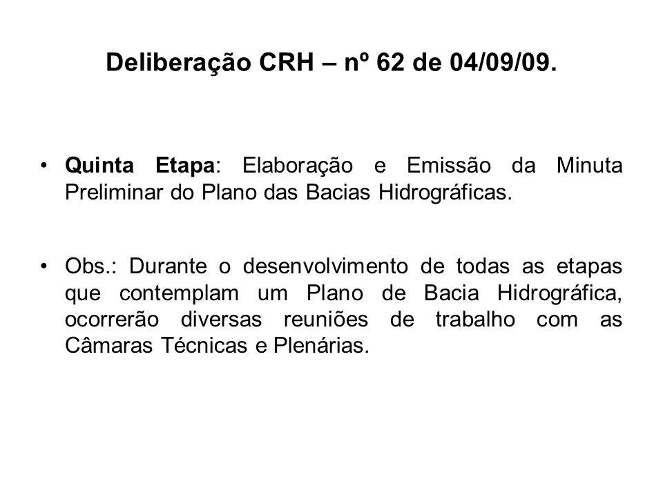 Deliberação CRH – nº 62 de 04/09/09. Quinta Etapa: Elaboração e Emissão da Minuta Preliminar do Plano das Bacias Hidrográficas. Obs.: Durante o desenv