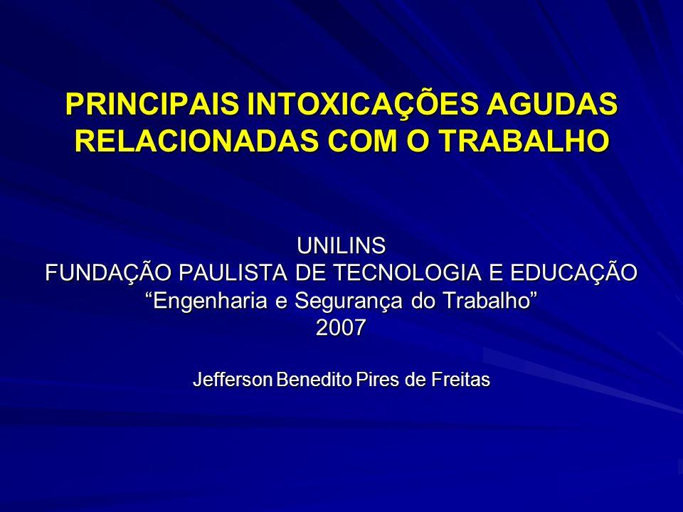 PRINCIPAIS INTOXICAÇÕES AGUDAS RELACIONADAS COM O TRABALHO UNILINS FUNDAÇÃO PAULISTA DE TECNOLOGIA E EDUCAÇÃO Engenharia e Segurança do Trabalho 2007