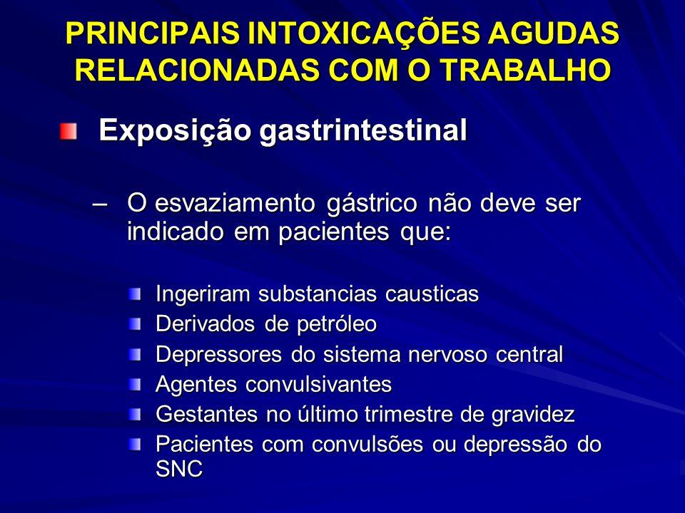 PRINCIPAIS INTOXICAÇÕES AGUDAS RELACIONADAS COM O TRABALHO Exposição gastrintestinal –O esvaziamento gástrico não deve ser indicado em pacientes que: