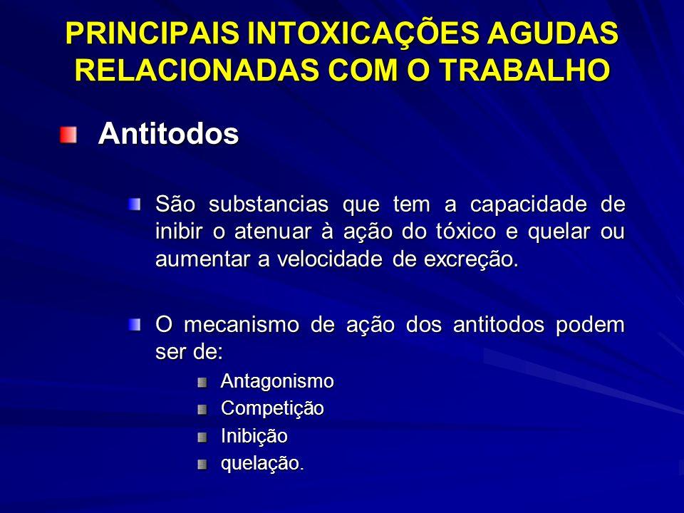 PRINCIPAIS INTOXICAÇÕES AGUDAS RELACIONADAS COM O TRABALHO Antitodos São substancias que tem a capacidade de inibir o atenuar à ação do tóxico e quela