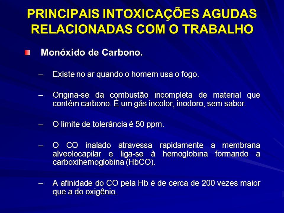 PRINCIPAIS INTOXICAÇÕES AGUDAS RELACIONADAS COM O TRABALHO Monóxido de Carbono. –Existe no ar quando o homem usa o fogo. –Origina-se da combustão inco