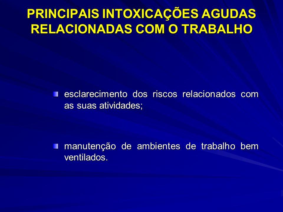 PRINCIPAIS INTOXICAÇÕES AGUDAS RELACIONADAS COM O TRABALHO esclarecimento dos riscos relacionados com as suas atividades; manutenção de ambientes de t