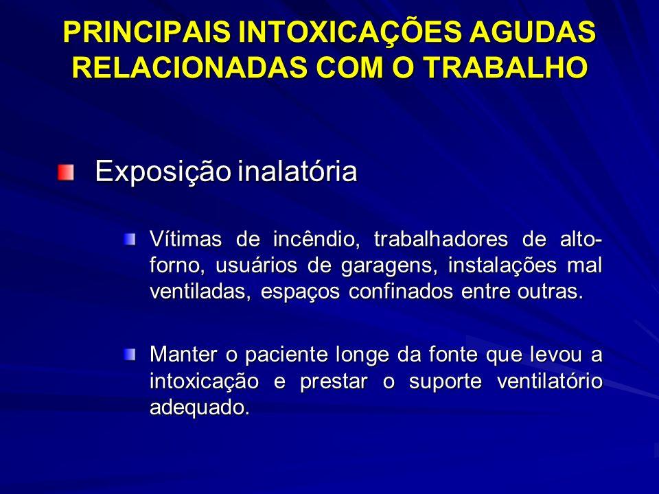 PRINCIPAIS INTOXICAÇÕES AGUDAS RELACIONADAS COM O TRABALHO Exposição gastrintestinal –Esvaziamento gástrico Indução de vômitos Lavagem gástrica
