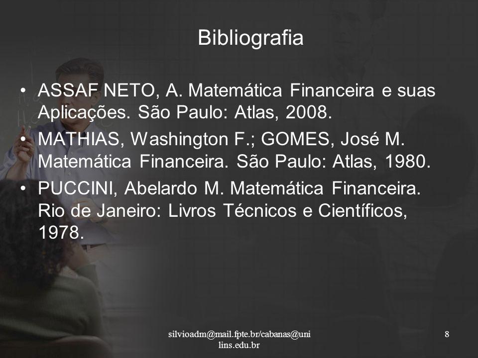 Bibliografia ASSAF NETO, A. Matemática Financeira e suas Aplicações. São Paulo: Atlas, 2008. MATHIAS, Washington F.; GOMES, José M. Matemática Finance