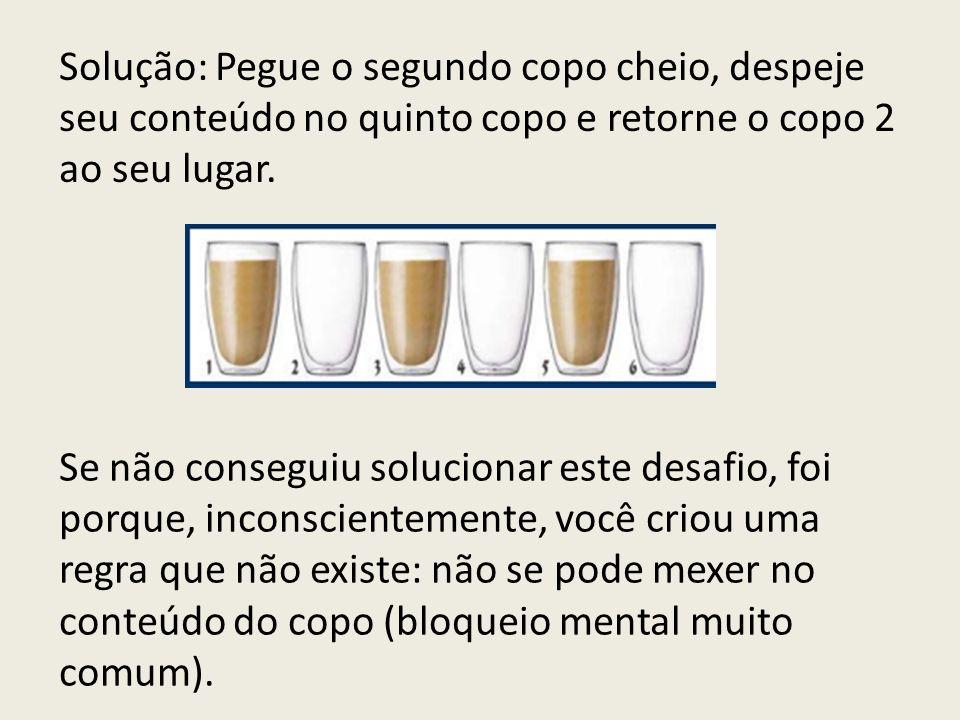 Solução: Pegue o segundo copo cheio, despeje seu conteúdo no quinto copo e retorne o copo 2 ao seu lugar. Se não conseguiu solucionar este desafio, fo