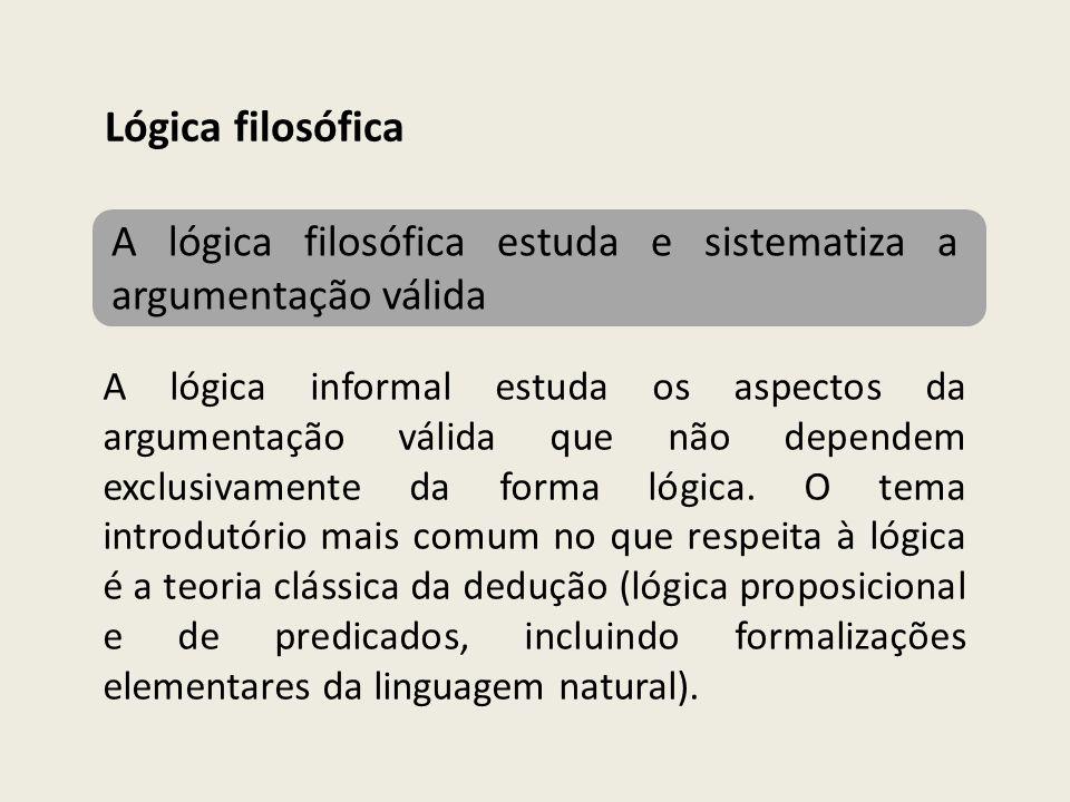 A lógica filosófica estuda e sistematiza a argumentação válida Lógica filosófica A lógica informal estuda os aspectos da argumentação válida que não d