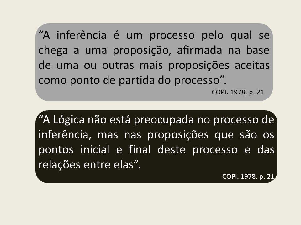 A inferência é um processo pelo qual se chega a uma proposição, afirmada na base de uma ou outras mais proposições aceitas como ponto de partida do pr