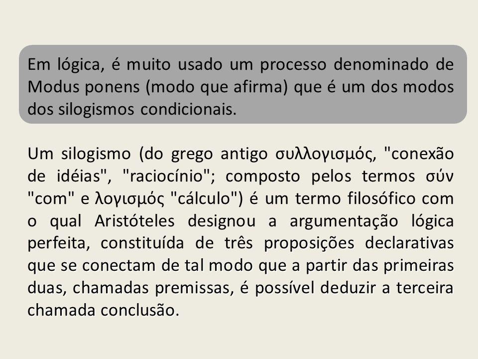 Em lógica, é muito usado um processo denominado de Modus ponens (modo que afirma) que é um dos modos dos silogismos condicionais. proposições declarat