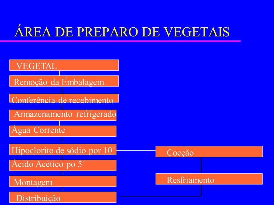 ÁREA DE PREPARO DE VEGETAIS VEGETAL Remoção da Embalagem Conferência de recebimento Armazenamento refrigerado Água Corrente Hipoclorito de sódio por 1