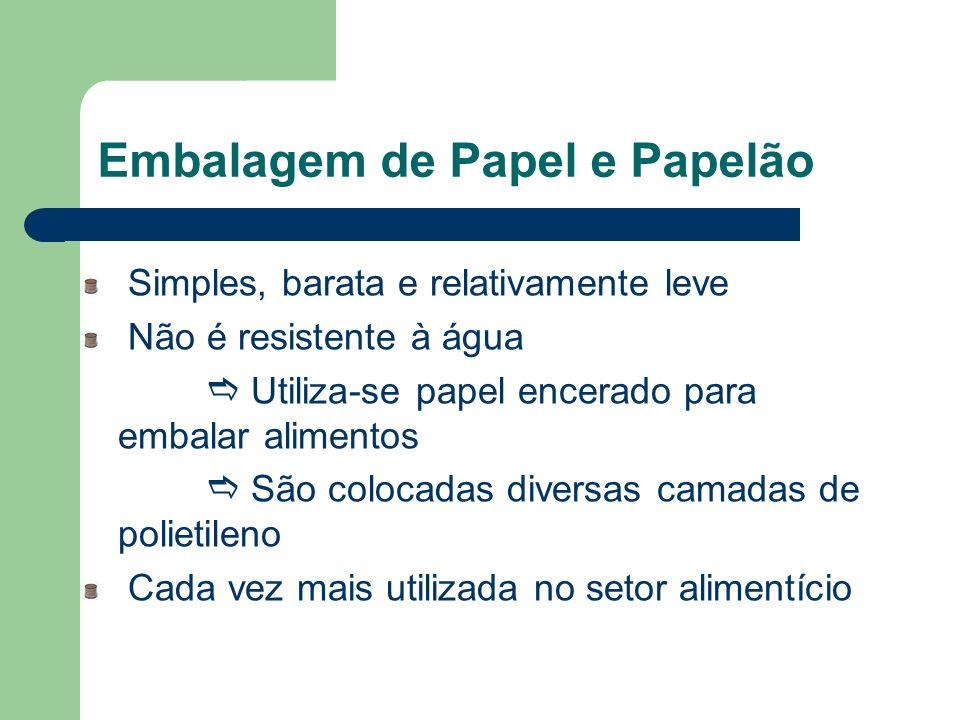 Embalagem de Papel e Papelão Simples, barata e relativamente leve Não é resistente à água Utiliza-se papel encerado para embalar alimentos São colocad