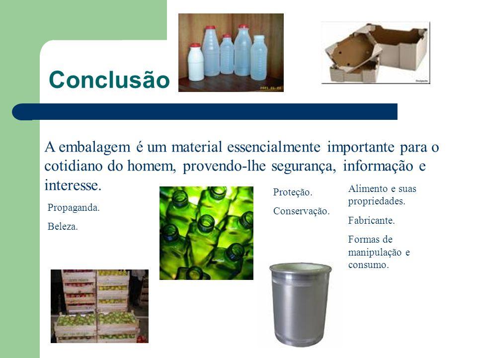 Conclusão A embalagem é um material essencialmente importante para o cotidiano do homem, provendo-lhe segurança, informação e interesse. Proteção. Con