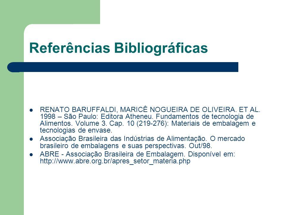 Referências Bibliográficas RENATO BARUFFALDI, MARICÊ NOGUEIRA DE OLIVEIRA. ET AL. 1998 – São Paulo: Editora Atheneu. Fundamentos de tecnologia de Alim