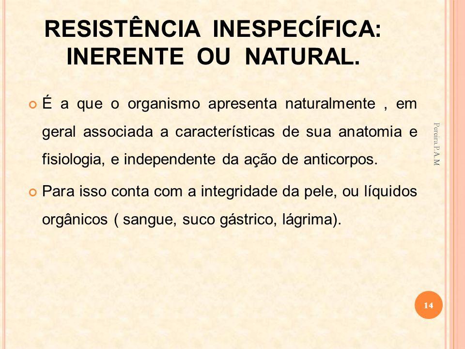 RESISTÊNCIA INESPECÍFICA: INERENTE OU NATURAL. É a que o organismo apresenta naturalmente, em geral associada a características de sua anatomia e fisi