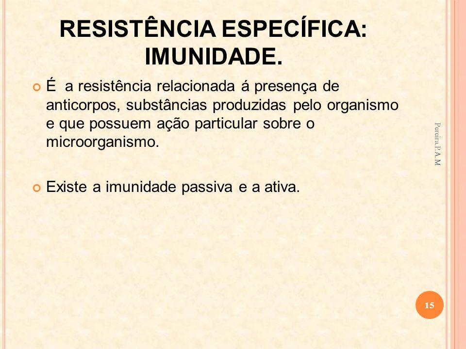 RESISTÊNCIA ESPECÍFICA: IMUNIDADE. É a resistência relacionada á presença de anticorpos, substâncias produzidas pelo organismo e que possuem ação part
