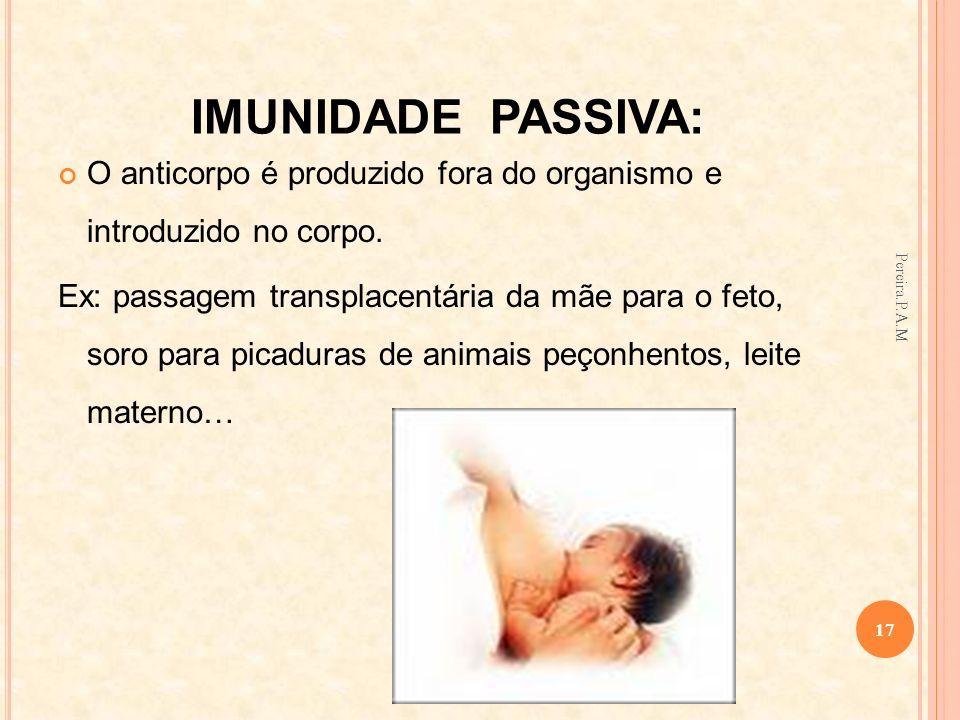 IMUNIDADE PASSIVA: O anticorpo é produzido fora do organismo e introduzido no corpo. Ex: passagem transplacentária da mãe para o feto, soro para picad