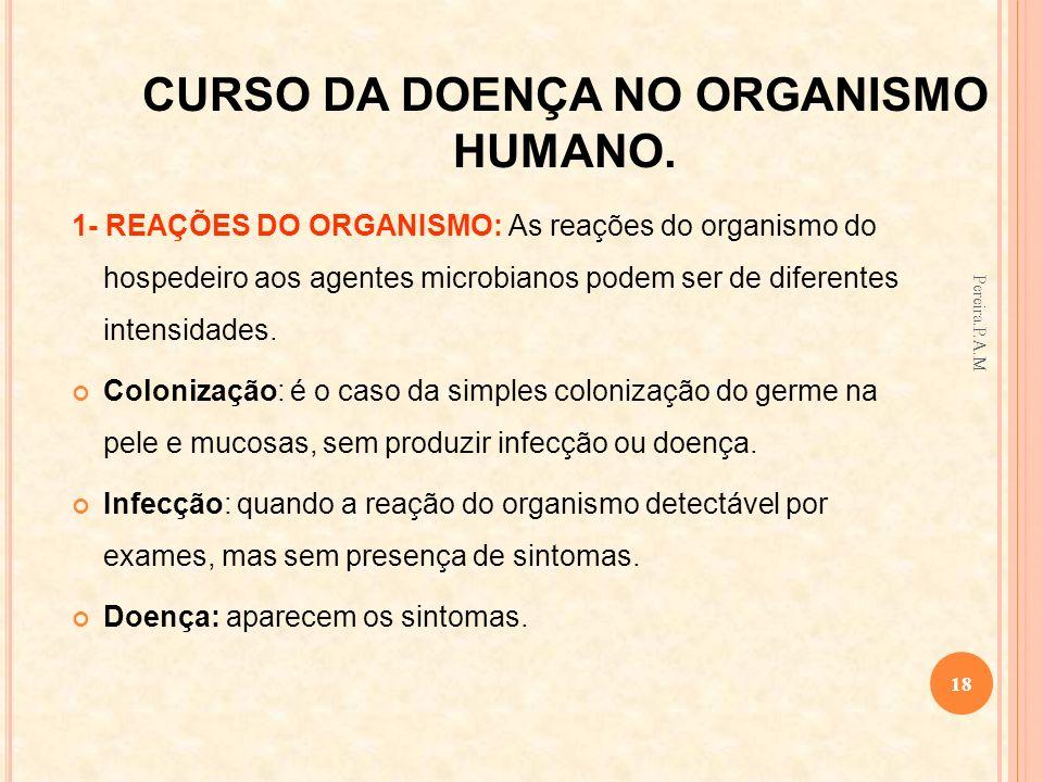 CURSO DA DOENÇA NO ORGANISMO HUMANO. 1- REAÇÕES DO ORGANISMO: As reações do organismo do hospedeiro aos agentes microbianos podem ser de diferentes in