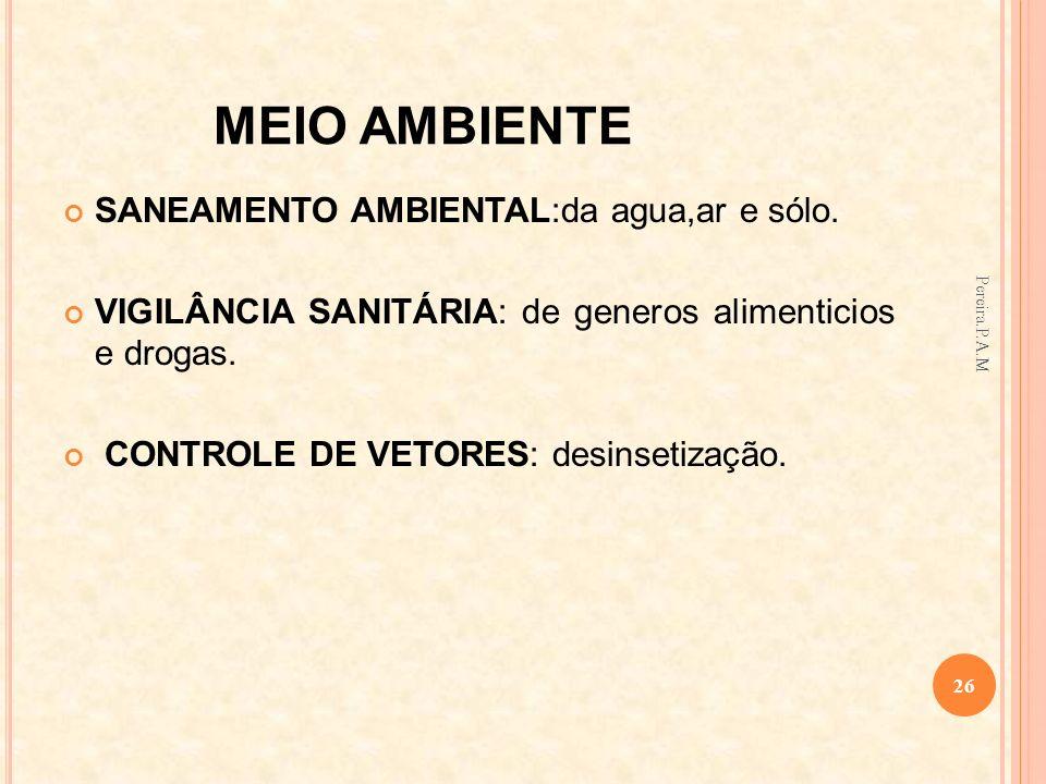 MEIO AMBIENTE SANEAMENTO AMBIENTAL:da agua,ar e sólo. VIGILÂNCIA SANITÁRIA: de generos alimenticios e drogas. CONTROLE DE VETORES: desinsetização. 26