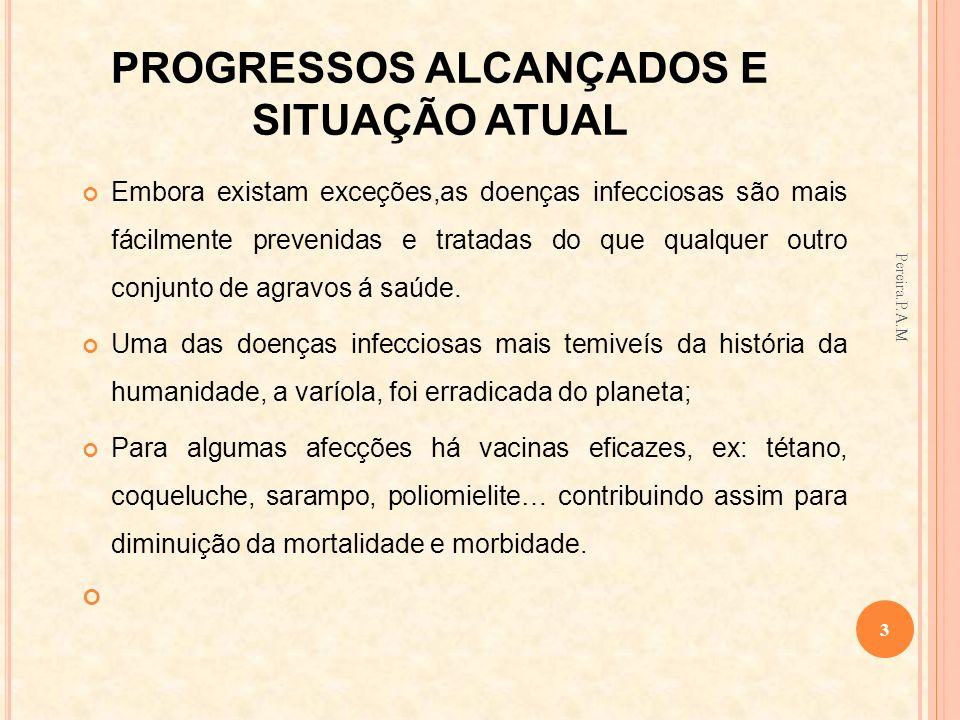 PROGRESSOS ALCANÇADOS E SITUAÇÃO ATUAL Embora existam exceções,as doenças infecciosas são mais fácilmente prevenidas e tratadas do que qualquer outro