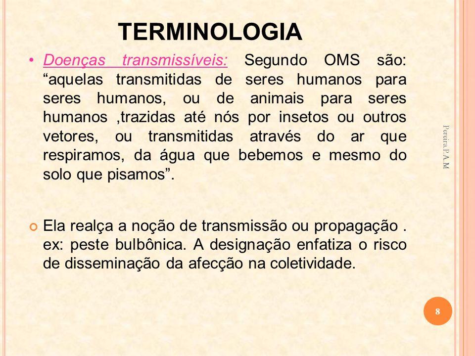 TERMINOLOGIA Doenças transmissíveis: Segundo OMS são: aquelas transmitidas de seres humanos para seres humanos, ou de animais para seres humanos,trazi
