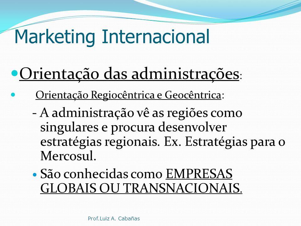 Marketing Internacional Orientação das administrações : Orientação Regiocêntrica e Geocêntrica: - A administração vê as regiões como singulares e procura desenvolver estratégias regionais.