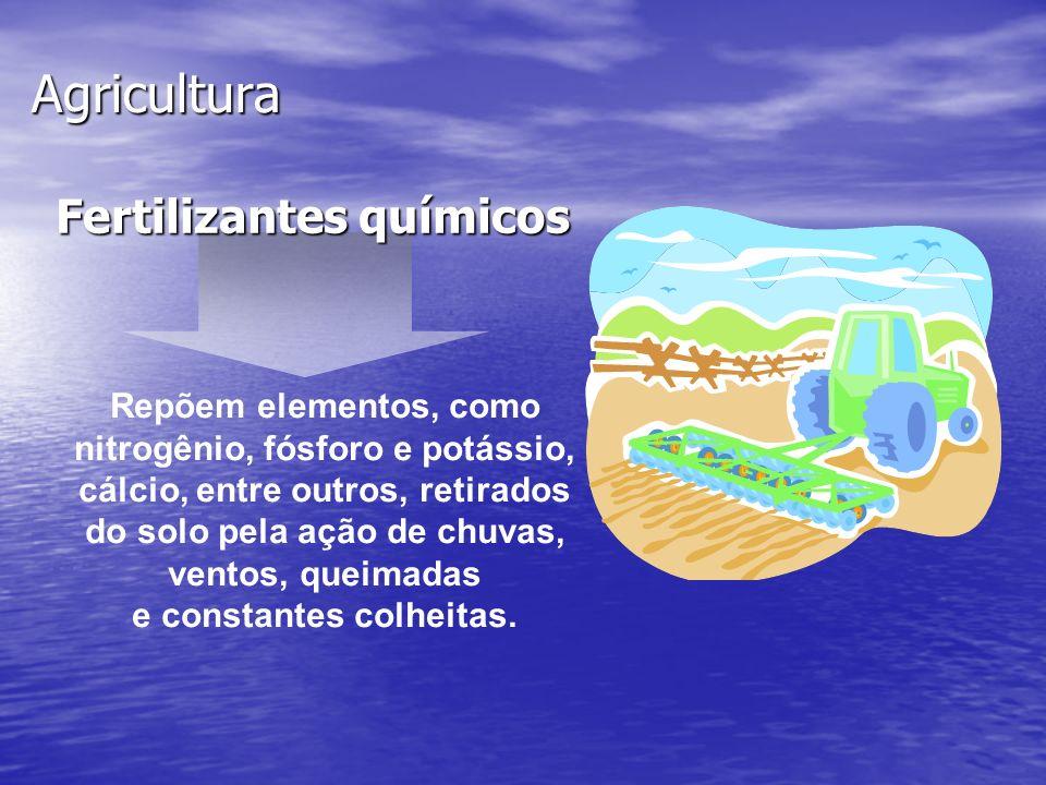 Agricultura Fertilizantes químicos Repõem elementos, como nitrogênio, fósforo e potássio, cálcio, entre outros, retirados do solo pela ação de chuvas,