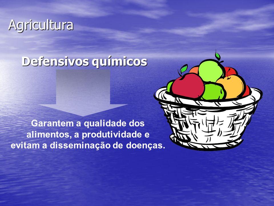Agricultura Defensivos químicos Garantem a qualidade dos alimentos, a produtividade e evitam a disseminação de doenças.