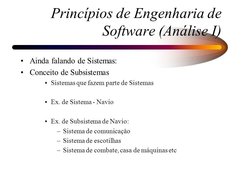 Fatores Críticos de todo o processo de Análise e Projeto de Sistemas: –Documentação Posterior Incompleta Desatualizada –Comunicação Entre fases de processo Entre as pessoas envolvidas Princípios de Engenharia de Software (Análise I)