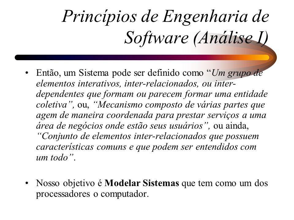 Ciclo de Vida de Sistemas de Informação: –Ciclo de Vida Clássico: Requisitos --> Análise Requisitos avaliados --> Projeto Requisitos detalhados --> Implementação Programas --> Testes --> Sistema Testado e Implantado --> Manutenção Princípios de Engenharia de Software (Análise I)