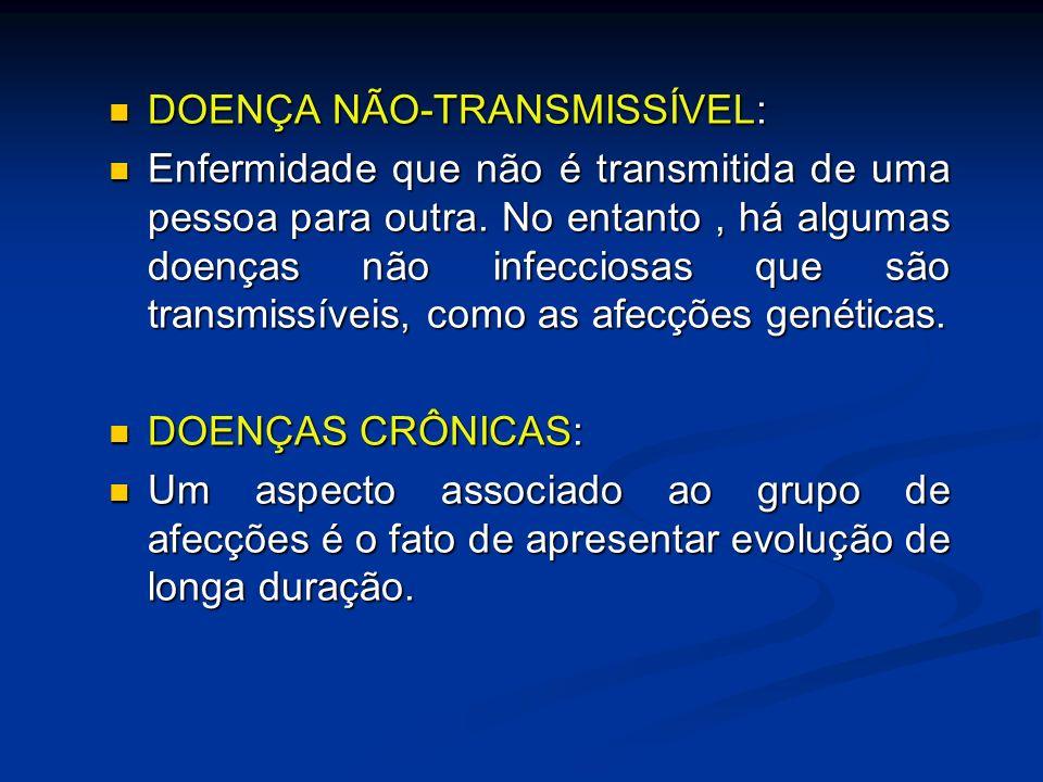 DOENÇA NÃO-TRANSMISSÍVEL: DOENÇA NÃO-TRANSMISSÍVEL: Enfermidade que não é transmitida de uma pessoa para outra. No entanto, há algumas doenças não inf