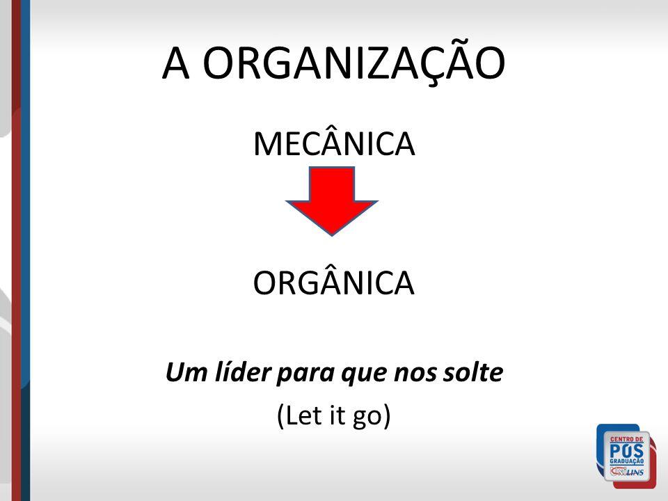A ORGANIZAÇÃO MECÂNICA ORGÂNICA Um líder para que nos solte (Let it go)